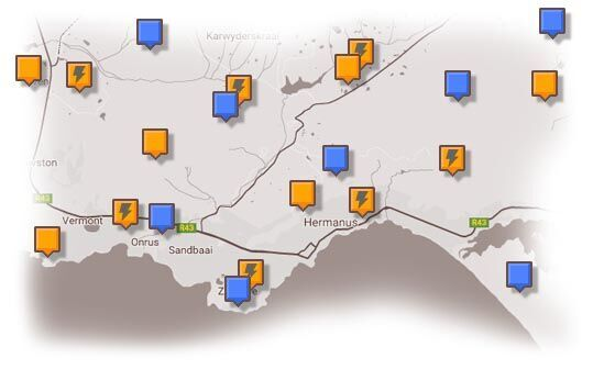 Map of Hermanus & Surrounding Accommodation